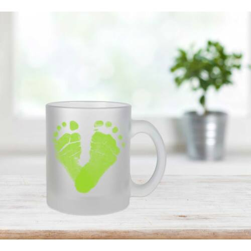 Üveg bögre almazöld / Glass mug apple green